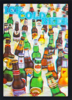 Quadro Decorativo Poster 3D Cerveja Gelada 50x70cm - Decore Pronto