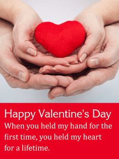 Holding a Heart Together - Happy Valentine's Day Card: A single heart is cradled between two hands, with another pair of hands holding tight from underneath. It's a romantic reminder of how there's nothing more special than the love between two people. The image on this sweet greeting card is strengthened by the sentimental message below, which lets your Valentine know that even from the very beginning, you knew the two of you would be together forever.