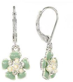 Lc lauren conrad silver tone simulated crystal and simulated pearl flower drop earrings at ShopStyle