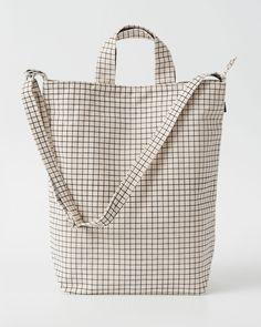 Grid print tote, monochrome minimal bag // BAGGU