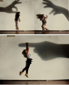 Good photography by using the shadows of the hands with the people acting as if the shadows were actually manipulating them.