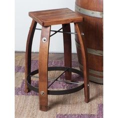 2-Day Designs Wood Top Stave Bar Stool 818W28