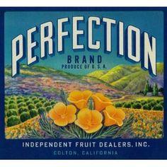 Colton, San Bernardino County Perfection California Poppy Flowers Orange Citrus Fruit Crate Box Label Art Print