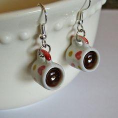 Cup of Coffee Heart Mug Earrings - Miniature Food Jewelry