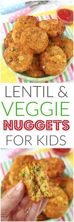 Delicious veggie nuggets packed with lentils. These make brilliant finger foods for kids, toddlers and weaning babies too. Super healthy and so easy to make! Veggie Recipes, Baby Food Recipes, Vegetarian Recipes, Cooking Recipes, Healthy Recipes, Lentil Recipes, Kid Recipes, Chicken Recipes, Vegetarian Cooking