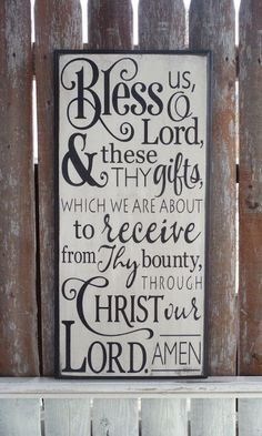 Mealtime Blessing Grace Bless Us Oh Lord Distressed Sign