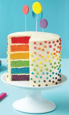 Surprise How to Make a Rainbow Layer Cake. I've always wanted to make a pretty cake like this for birthdays, haven't you?How to Make a Rainbow Layer Cake. I've always wanted to make a pretty cake like this for birthdays, haven't you? Toddler Birthday Cakes, 8th Birthday Cake, Rainbow Birthday Party, Birthday Boys, Colorful Birthday Cake, Birthday Ideas, Birthday Desserts, Diy Birthday, Rainbow Layer Cakes