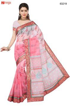 Wonderful Printed Pallu Saree in Mistyrose & Salmon Color. Message/call/WhatsApp at +91-9246261661 or Visit www.zinnga.com
