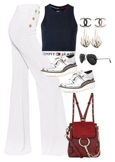 """""""Untitled #4065"""" by magsmccray on Polyvore featuring Balmain, Tommy Hilfiger, STELLA McCARTNEY, Chloé, Ray-Ban and Ring of Fire"""
