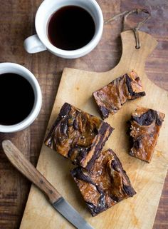 Chocolate brownies with a swirl of salted caramel & cream cheese - HEAVEN!