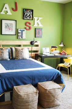 Bedrooms for teen boys! We love this one with a pallet headboard and green walls featured on Remodelaholic via Houzz