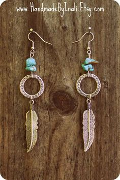 Dangle silver Feather Long earrings with a turquoise beads
