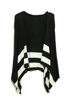 Stripes Hooded Sleeveless Black Cardigan    $40.99  romwe.com new in and hot sale:)  #romwe