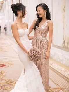 Schönes A-Linie V-Ausschnitt Bodenlanges Goldes Brautjungfernkleid mie Pailletten