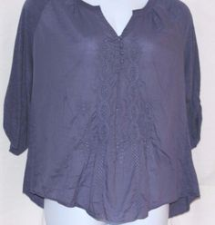 Nine West Vintage America Collection Embroidered Blue Tunic Plus Size XL/0X #NineWest #Tunic