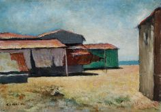 carlo carrà spiaggia - Cerca con Google Painter Artist, Italian Painters, World War I, Landscape Art, Moma, Still Life, Italy, House Styles, Art Paintings