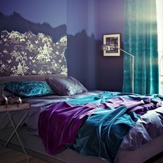 Brown and blue bedroom color schemes teal bedroom decor blue color schemes enhancing modern bedroom decorating . Purple Bedroom Design, Teal Bedroom Decor, Bedroom Turquoise, Gray Bedroom, Dark Purple Bedrooms, Bedroom Designs, Pretty Bedroom, Bedroom Ideas Purple, Bedroom Furniture