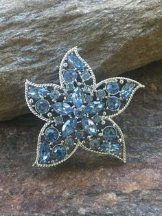 Blue Flower Brooch Blue Rhinestone Brooch Signed Sarah Cov Blue Rhinestone…
