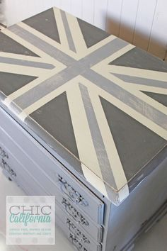 Before and After: Painted Furniture Transformation  Gray Union Jack Dresser