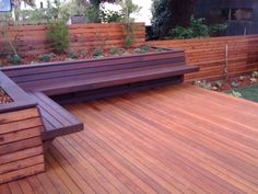 Sacred Space Gardens - San Francisco, CA, United States. Deck of Garapa, Bench of Ipe and Fence of Redwood.