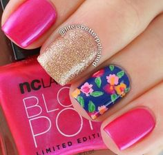 Top Pretty Flower Nail Designs For Beautiful LadyThough fall is approaching, flowers square measure still smiling at you. we have a tendency to continually like to place flower components to our garments or shoes, like floral shorts, flower writt Diy Nails, Cute Nails, Pretty Nails, Flower Nail Designs, Nail Art Designs, Floral Designs, Spring Nails, Summer Nails, Flower Nails