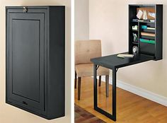 This wall closet folds out to become a table with shelves. Shelving For Small Spaces