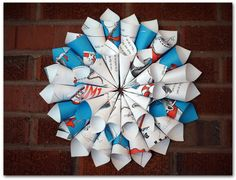 14 Inch Dr. Seuss Wreath - Cat in the Hat book wreath - Birthday, classroom or nursery decor - Ready to ship