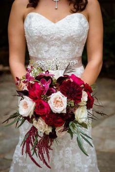 d3954880d0 Burgundy   red  marsala semi cascade bridal bouquet
