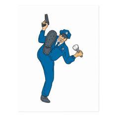 Policeman Gun Flashlight Torch Kicking Drawing Postcard