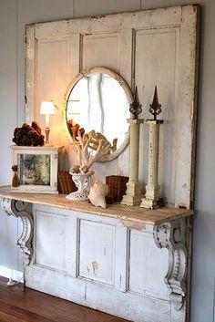 aged shelf and time-worn brackets