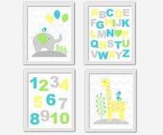 Baby Boy Nursery Art Blue Lime Yellow Gray Elephant Giraffe ABC Numbers Alphabet Safari Jungle Animal Wall Art Baby Nursery Decor Prints Art