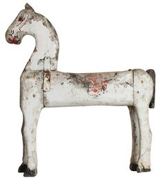 Antique Wooden painted folk art carved horse