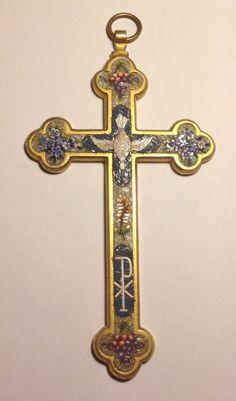 19th C.Antique ITALIAN MICRO-MOSAIC Wall Hanging Cross Holy Spirit Catholic