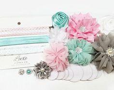 Baby Shower Headband Station - Pink, Aqua, Grey, White DIY Headband Kit - Makes 6 headbands! Luxe Crafting Supplies - Luxe Supply Co.
