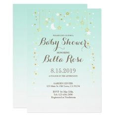 Mint Moon Star Gender Neutral Baby Shower Invite - baby gifts child new born gift idea diy cyo special unique design