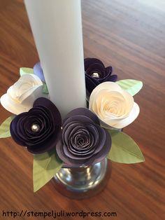 Deko für Kerzenständer Kerzenring Rosen Stampin Up Blumen Glitzer