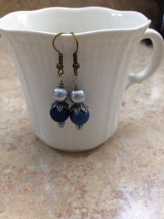Beautiful silver pearl and blue earrings. by ReadyByDawn on Etsy, $10.00
