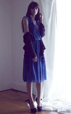 Flattering pleated dress in Star Blue.