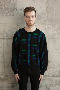 Geometric Pattern Black Jumper / Mens Comfy Sweater / Long Sleeve Vintage Jumper Vintage Jumper, Black Jumper, Mens Jumpers, Long Sleeve Sweater, Comfy Sweater, Trending Outfits, Pattern, Sweaters, Mens Tops