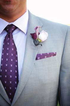Hays make all the guys wear purple ties and stuff Purple Flower Arrangements, Purple Bouquets, Groom Attire, Groom And Groomsmen, Purple Ties, Wedding Stuff, Our Wedding, Temecula Creek Inn, Purple Wedding Decorations