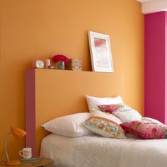 This bright and bold bedroom is painted Little Greene paint in Marigold and Leather Vintage Paint Colors, Orange Paint Colors, Wall Paint Colors, Bedroom Orange, Orange Walls, Bedroom Colors, Playroom Colors, Bedroom Decor, Little Greene Paint Company