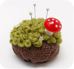 Pillow Moss Pincushion with Mushroom Pin by michellepatterns, $30.00