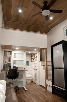 """""""Noyer"""" Tiny House on Wheels by Minimaliste Tiny Houses - Dream Big Live Tiny Co. Tiny Living, Home And Living, Living Area, Living Spaces, Rv Living, Minimaliste Tiny House, Apartment Size Refrigerator, Cedar Cladding, Structural Insulated Panels"""