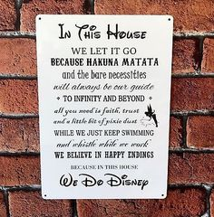 Disney Sign Disney Quotes In This House We Do Disney Family House Sign