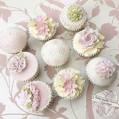 Pretty Pastel cupcakes in soft pink and pale green
