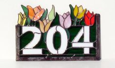 Tulip Stained Glass House Number by Womens Glass