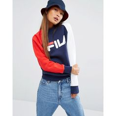 Fila Boyfriend Sweatshirt With Color Block Sleeves And Logo Print ($89) ❤ liked on Polyvore featuring tops, hoodies, sweatshirts, multi, relaxed fit tops, crew neck sweatshirts, crewneck sweatshirt, drop shoulder tops and fila sweatshirt
