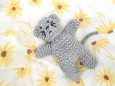 Gray Knit Kitty Cat 8 Tall Softie Doll Birthday Gift by Girlpower