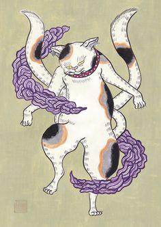 猫又。 #art #illustration #japan #youkai #cat #nekomata #アート #イラスト #日本画 #妖怪 #猫 #猫又 Illustration, Style, Gatos, Swag, Illustrations, Outfits
