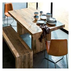 "West Elm Emmerson 62"" Dining Table, Reclaimed Pine - Dining Tables -... ($799) ❤ liked on Polyvore featuring home, furniture, tables, dining tables, patchwork furniture, reclaimed pine table, west elm, unfinished dining table and colored furniture"